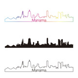 Manama skyline linear style with rainbow
