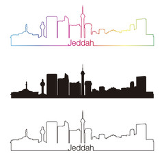 Jeddah skyline linear style with rainbow