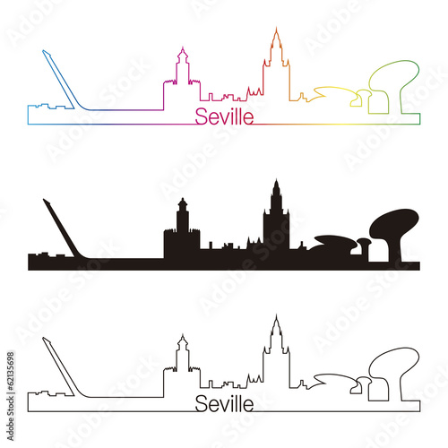Seville skyline linear style with rainbow