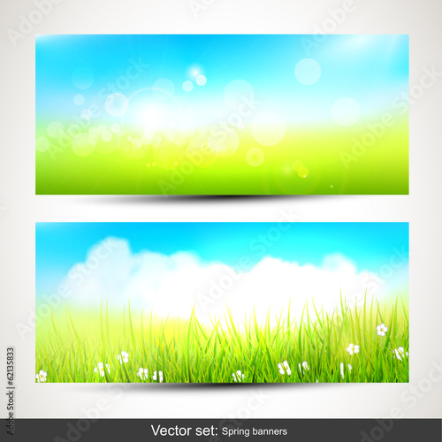 Set of two horizontal spring banners