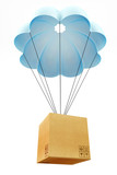 Cardbourd box with parachute concept poster