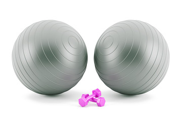 Fitness balls,and pink weights