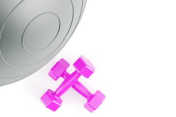 Fitness ball,and pink weights