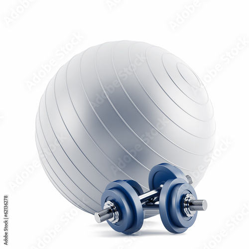 Fitness ball,and blue weights