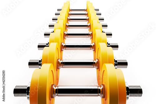 Row of cool dumbbells,