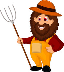 farmer cartoon  holding a pitchfork