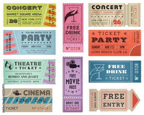 Grunge Vector Tickets Collection 3 - 62136403