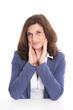 Schöne ältere Frau isoliert in Bürokleidung