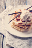 Waffles with vanilla and ice cream