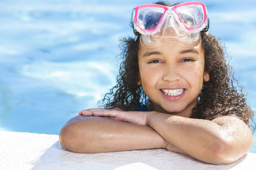 African American Interracial Girl Child In Swimming Pool with Go