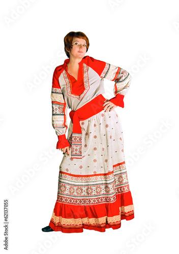 Woman in linen suit in folk style © Svetlaya