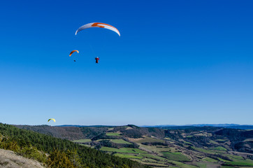 Paraglider over Grands Causses