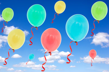 Balloons fly into the  sky