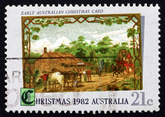 Postage stamp Australia 1982 Early Australian Christmas Card