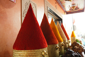 Spices pile (paprika, chillies) in the Marrakesh street shop