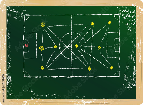 soccer / football tactics diagram, vector, free copy space