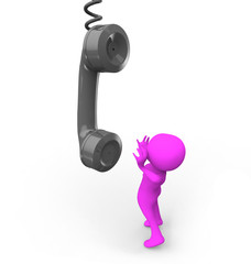 3d man calling by phone