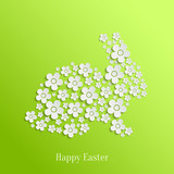 Easter Rabbit Bunny of White Flowers