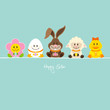 Easter Bunny & Friends Eggs Retro