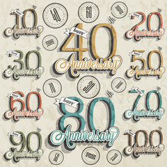 Retro Vintage style anniversary greeting card collection