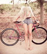 beautiful girl hipster bike