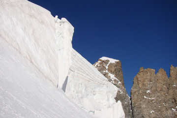 Les séracs de la Barre des Écrins, Alpes