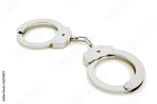 3D handcuffs isolated in white