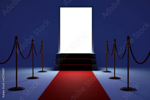 White podium on dark background