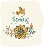 Natural floral background with Spring lettering