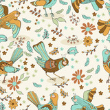 Natural floral Seamless background with birds