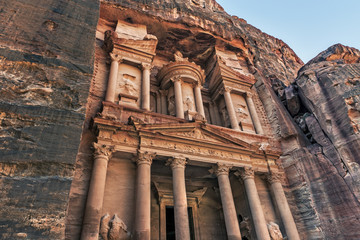 The treasury Al Khazneh carved into the rock at Petra
