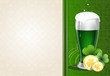 Green beer with gold coins and clover