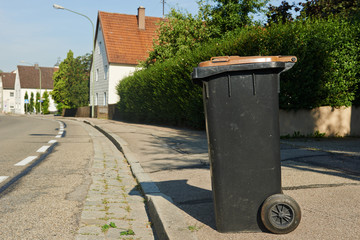recycling garbage or waste bin in small city