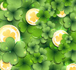Leprechaun gold coins and clover
