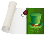 Leprechaun hat and paper scroll