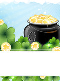 Leprechaun pot with gold coins and shamrock clover