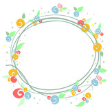 Simple colorful floral frame