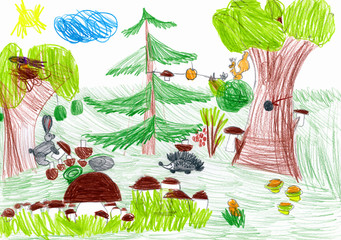 forest and wild animals. child drawing