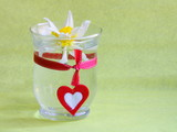 Easter or Valentines day card : Narcissus flower with red heart