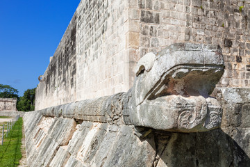 Column carved in feathered serpent motif in Chichen Itza, Mexico