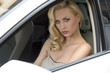 sensual woman in a car