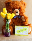 Mothers Day Card : Teddy Bear with flowers - yellow tulips