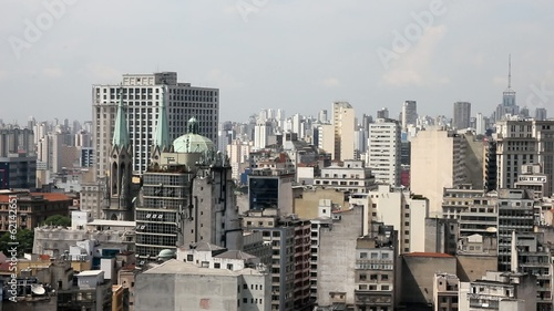 The big city of Sao Paulo and the famous Sé Cathedral, Brazil