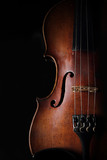 Vintage violin on dark background. Closeup view.