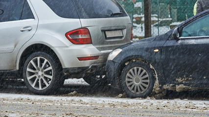 car crash collision in winter