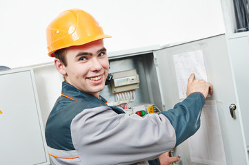 happy electrician engineer worker