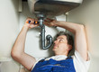 plumber man worker with kitchen sink
