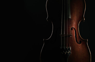 Old violin on dark background