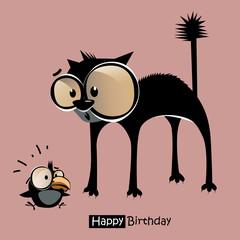 Happy Birthday bird cat smile