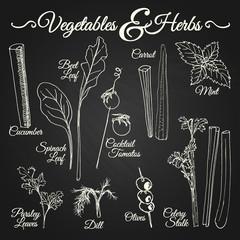 VEGETABLES & HERBS chalkboard